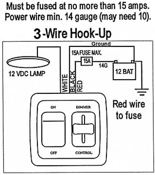 How do I wire this RV dimmer light switch with three wires? #15205. (JR  Products 15205 RV Dimmer On/Off LED Light Switch)RVupgrades.com RV Parts & Accessories Q & A