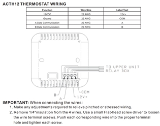 i need a wire diagram for the ACTH12 thermostat? (Advent Air ACTH12 Wall Unit Digital Wiring Diagrams on
