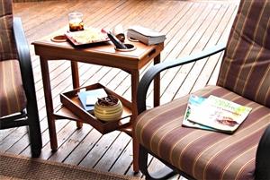 The Table Server 3F-01A Acacia Traveler Outdoor Folding Table