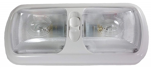 Arcon 18124 Double Euro-Style Incandescent Light With Switch - Clear Lens - White Base