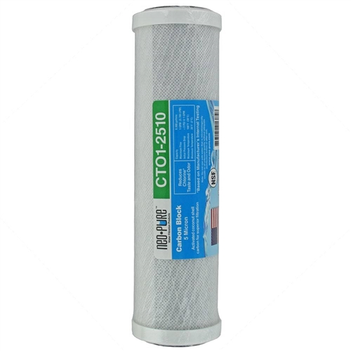 Neo-Pure CTO1-2510 Coconut Shell 5 Micron Carbon Block Filter Cartridge - 9-7/8'' x 2-1/2'' Questions & Answers