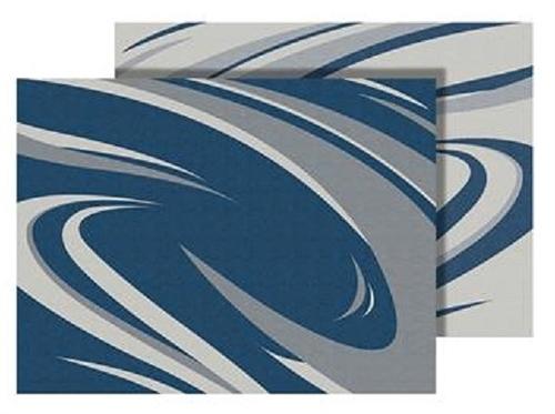 Faulkner 53007 Blue And Gray Modern Swish RV Patio Mat - 9' x 12'