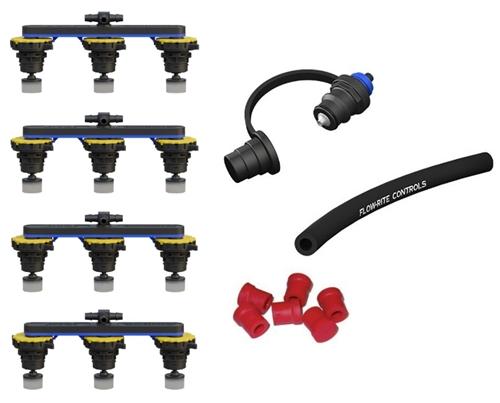 "Flow-Rite BG-U24V-1G Pro-Fill Universal Battery Watering System For (4) 6V Trojan Batteries, 2.7"" Cell Spacing"