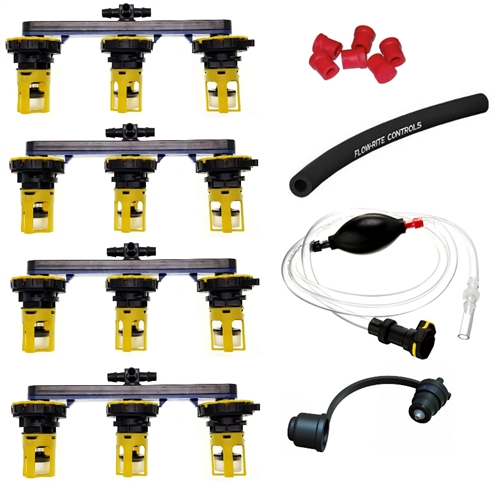 """Flow-Rite BG-U24V-1G-WS Pro-Fill Battery Watering System For (4) 6V Batteries, 2.7"""" Cell Spacing, With Hand Pump"""