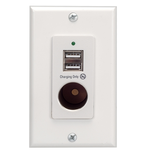Magnadyne WCP-12V-W Wall Mount 2-Port USB Charger And 12V Power Outlet - White