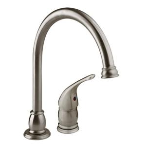 Dura Faucet DF-NMK301-SN Satin Nickel Goose Neck Pedestal RV Kitchen Faucet