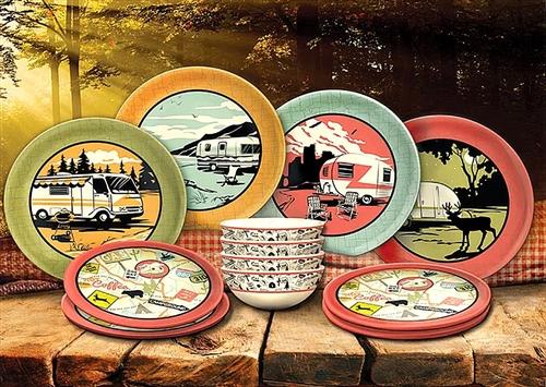 Camp Casual CC-001 Melamine RV Dish Set - 12 Piece