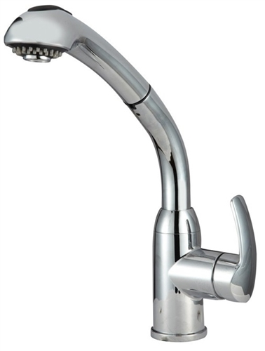 Dura Faucet DF-NMK861-CP Chrome Hi-Rise Pull-Out Brass RV Kitchen Faucet