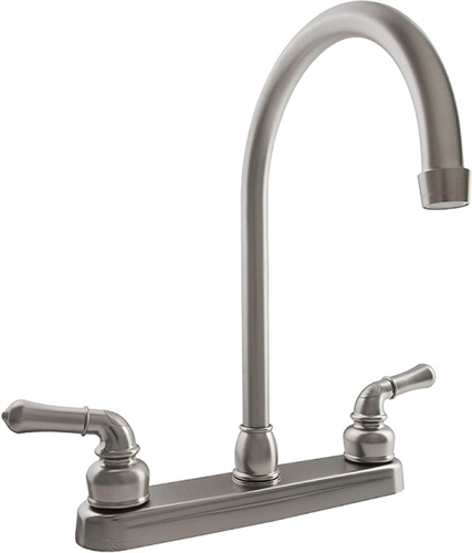 Dura Faucet DF-PK330HC-SN Satin Nickel J-Spout RV Kitchen Faucet
