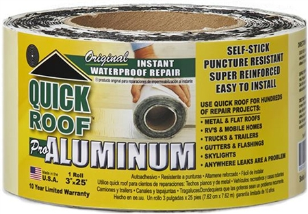 CoFair Products QR325 Quick Roof Aluminum RV Roof Repair Tape - 3'' x 25' Questions & Answers