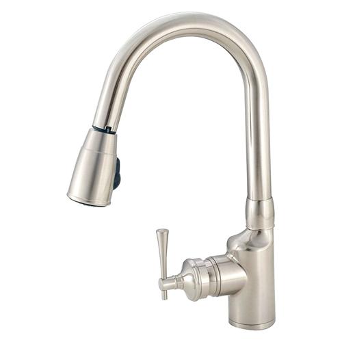 American Brass SL2000N Single-Lever Gooseneck Spout RV Kitchen Faucet, Brushed Nickel