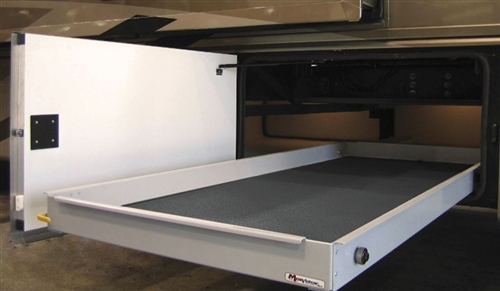 """What is your return policy?  How far will the MORryde Sliding Cargo Tray - 42"""" X 48"""" extend?  Fully extended how much weight will it support?"""