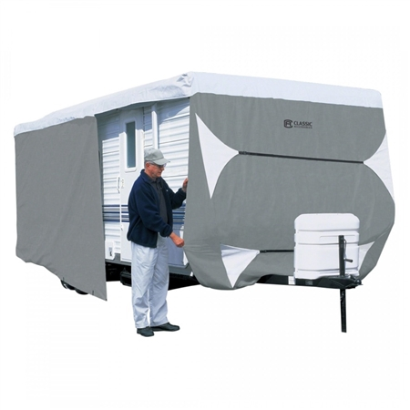 """How many inches long is this travel trailer cover?My trailer is 26' but is 27' 1"""" with spare tire. will this fit"""
