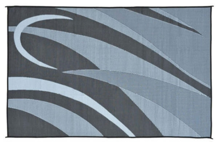 Ming's Mark GA1 Reversible RV Patio Mat - Black & Silver Graphic - 8' x 12' Questions & Answers