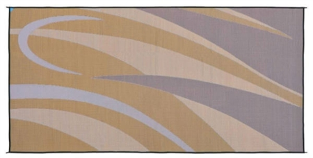 Ming's Mark GC7 Reversible RV Patio Mat - Brown & Gold Graphic - 8' x 20'