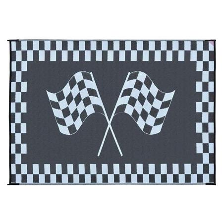 Ming's Mark RF-9121 Reversible RV Patio Mat - Black & White Racing Flag Design - 9' x 12'