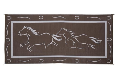 Ming's Mark GH8187 Reversible RV Patio Mat - Brown & White Galloping Horses Design - 8' x 18'
