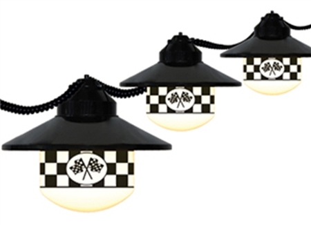 Polymer Products 1604-SPEEDWAY Globe String Lights- Speedway Flag, Set Of 6