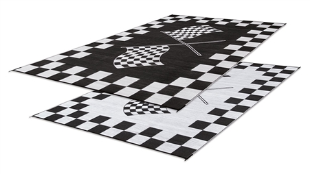 Faulkner 48707 Reversible RV Outdoor Patio Mat - Black & White Checkered Finish Line Design - 6' x 9' Questions & Answers
