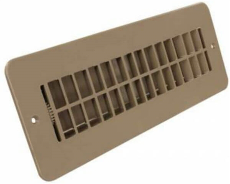 JR Products 288-86-AB-TN-A RV Floor Register with Damper - Tan