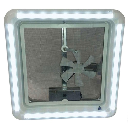Heng's HG-LR-W-CW-AFT RV Chandelier LED Roof Vent White Trim Light - Cool White Bulbs