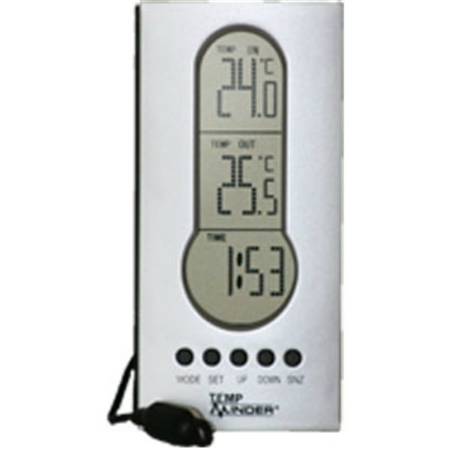 Minder Research MRI-122AG Indoor/Outdoor Thermometer With Clock & Wired Temperature Probe