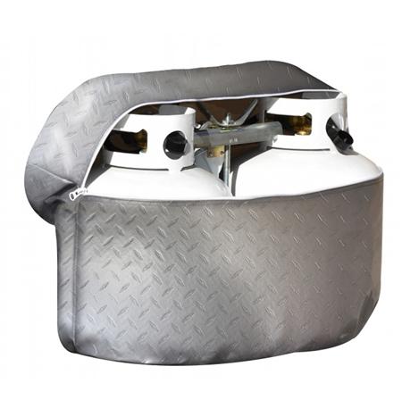 ADCO 2713 Diamond Plated Propane Tank Cover - Silver - Double 30 Lb