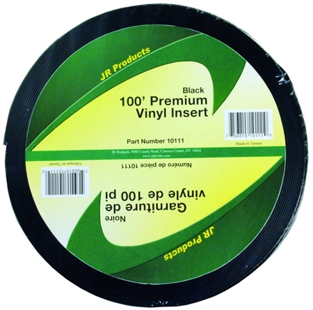 "JR Products 10111 Premium Vinyl Insert - 100' x 1"" - Black"
