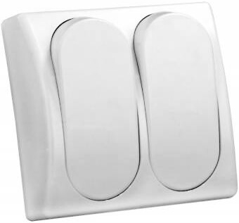 JR Products 13585 Modular Double Rocker Switch - White