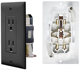 RV Designer S817 AC Self Contained Dual Outlet With Black Cover Plate