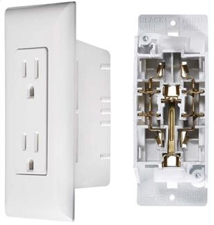 RV Designer S831 AC Self Contained Dual Outlet Speedwire With White Cover Plate