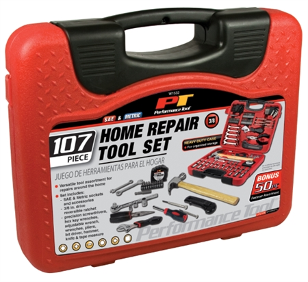 Performance Tool W1532 107 Piece Home And Auto Tool Set
