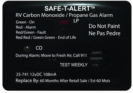Safe-T-Alert 25-741-BL 25 Series Mini Dual Carbon Monoxide/LP Gas Detector - Surface Mount - Black