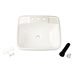 LaSalle Bristol 16186PWA Single Drop-In RV Bathroom Sink - White