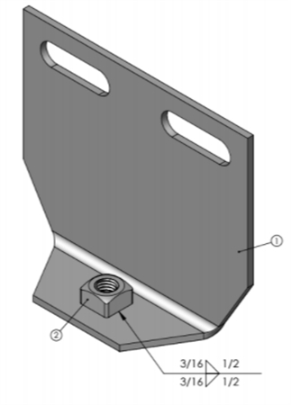 Lippert 159624 Standard Weld-On Head; Angle With Nut For Hydraulic Through Frame Slide-Out Assembly