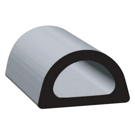 """Clean Seal 109H2-50 0.610"""" x 0.360"""" Non-Ribbed D Seal With Tape - Black"""