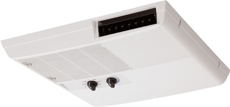 Is the thermostat built into the ceiling assembly? Are the on/off controls on the ceiling assembly
