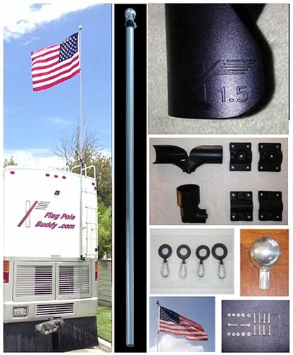 Flagpole Buddy 106105K Fiberglass Pole And Ladder Mount Kit - 16' x 1.5'' Questions & Answers