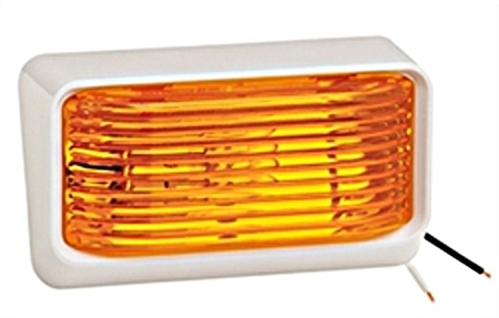 Bargman 31-78-532 White RV Porch Light With Amber Lens