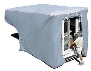 My camper is kept on the truck. . Does the front of this cover allow for its being attached like this?