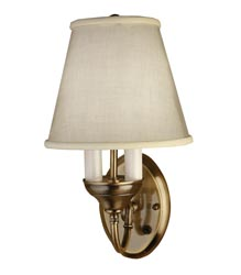 Gustafson 53AM507XYZ6 Antique Brass Sidewall Lights With Fabric Shades Questions & Answers